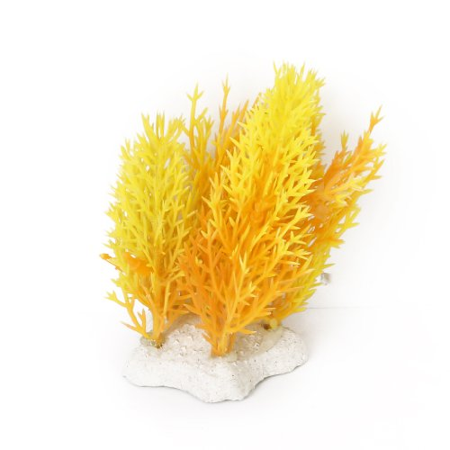 "3.94"" Plastic Water Grass Plants Aquarium Ornament for Fish Tank - Yellow and Orange"