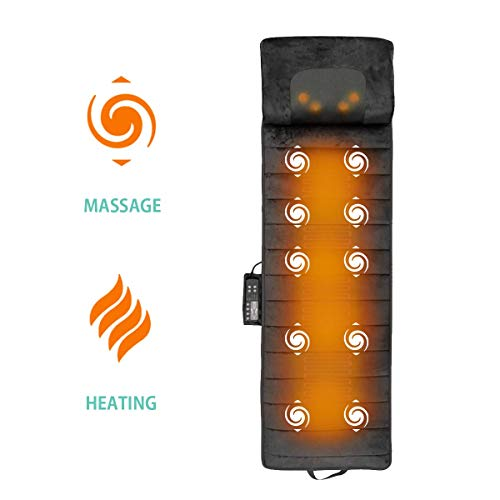 Full Body Massager Mat with Shiatsu Neck Massage for Full Body Pain Relief, Uses 10 Vibrating Motors and Therapy Full Body Heating Pad Relieves Stress, Tension, and Knots in Back, Legs and Shoulders