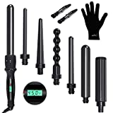 Curling Iron,PARWIN PRO 7 in 1 Curling Wand Set with 7 Interchangeable Barrels and Heat Protective Glove Auto Shut Off Dual Voltage