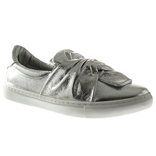 Angkorly Women's Fashion Shoes Trainers - Slip-On - Bows - Shiny Flat Heel 2.5 cm Silver YL6Wx5