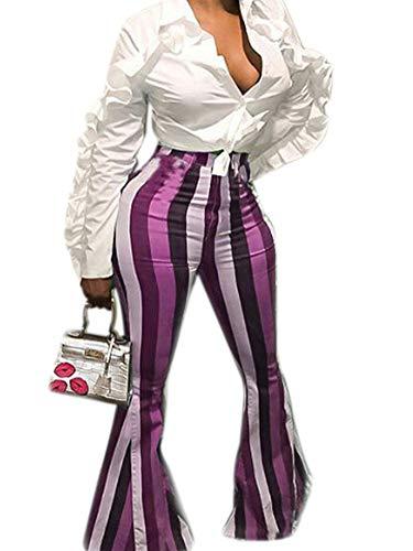Women's Boho Comfy Stretchy Bell Bottom Flare Pants Skinny Tights Purple XXL ()