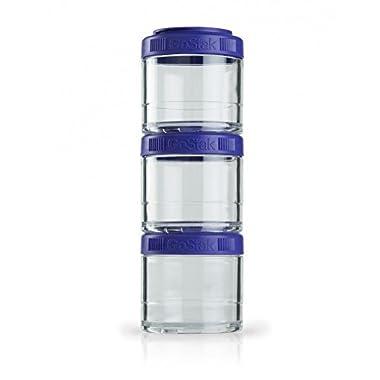 BlenderBottle GoStak Twist n' Lock Storage Jars, 4-Piece Starter Pak, Purple