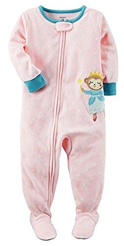 Carter's Girls' 2T-5T One Piece Princess Monkey Fleece Sleep & Play - Monkey Fleece