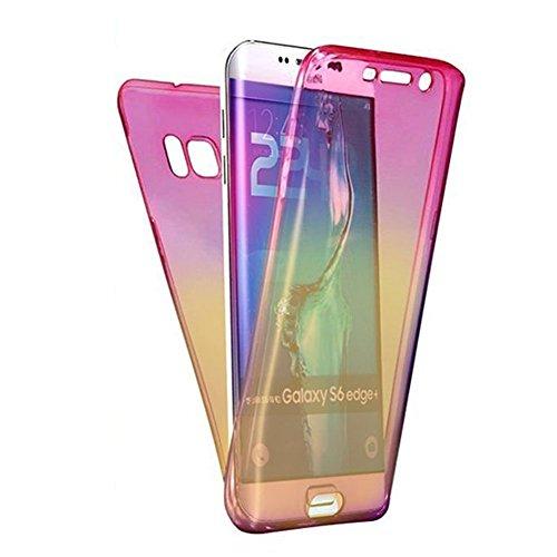 Carcasa para Samsung Galaxy S6 Edge, Funda Samsung Galaxy S6 Edge 360 Grados, EUWLY Full Body Delantera y Trasera Doble Protección Completa Cover Caso Ultra Delgado Degradado de Color Diseño Flexible  Rosa+Amarillo