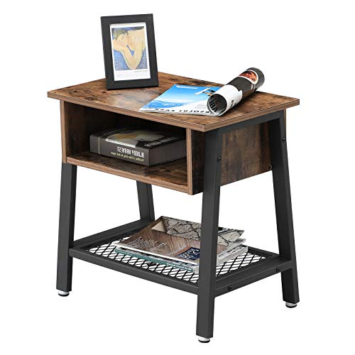Wooden Accent Table ULET91X Easy Assembly VASAGLE 2 Tier Side Table with Storage Rack Metal Shelf