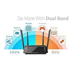 D-Link AC1200 High-Power Wi-Fi Router, Dual Band, Wireless speeds up to 300Mbps (2.4GHz) + 867Mbps (5GHz), WiFi Coverage…