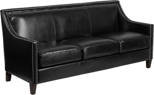Traditional Black Leathersoft Office Lounge Sofa with Silver Nailhead Trim