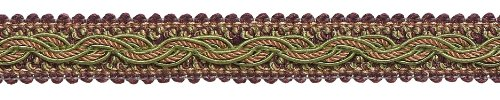 DÉCOPRO 7 Yard Pack - Plum Olive Green Baroque Collection Gimp Braid 7/8