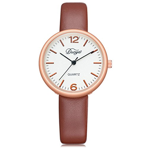 SUKEQ Unisex Men Women Simple Comfortable PU Leather Quartz Watch Analog Pointer Display Round Dial Case Wrist Watch for Lovers (Brown)