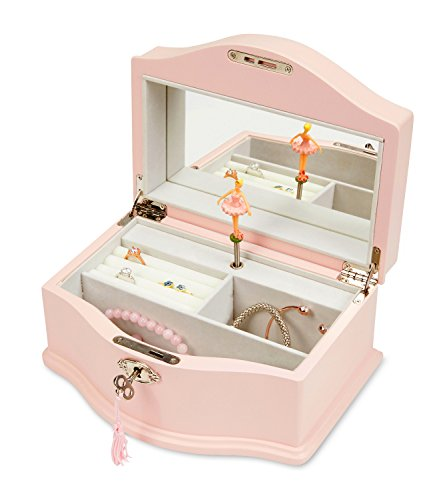 JewelKeeper Girls Wooden Musical Jewelry Box with Lock and Key, Classic Design with Ballerina and Mirror, Swan Lake Tune, Rose Pink (Vintage Cream Mirror Large)