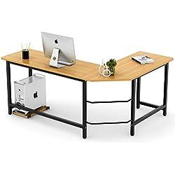 Tribesigns Modern L-Shaped Desk Corner Computer Desk PC Latop Study Table Workstation Home Office Wood & Metal (Teak)