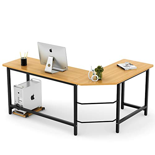 Tribesigns Modern L-Shaped Desk Corner Computer Desk PC Latop Study Table Workstation Home Office Wood & Metal (Teak) ()