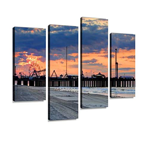 The Iconic Steel Pier on The Atlantic City Boardwalk Canvas Wall Art Hanging Paintings Modern Artwork Abstract Picture Prints Home Decoration Gift Unique Designed Framed 4 Panel