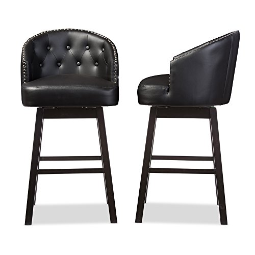 - Baxton Studio Avril Modern & Contemporary Faux Leather Tufted Swivel Barstool with Nail Heads Trim (Set of 2), Black