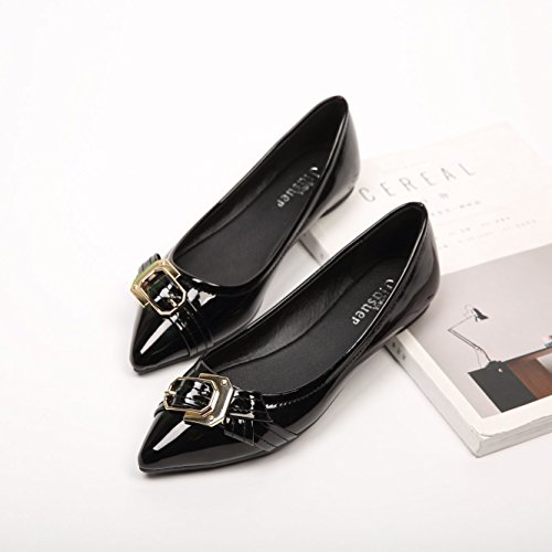 buckle shoes metal Black square pointed thin Women's shoes flat sweet 0qwZ7Fx4