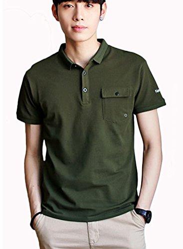 (イノ)Yino tシャツ ポロシャツ ワッペン メンズ シャツ トップス ポロ 半袖 POLOシャツ 無地 カジュアルシャツ 通気性 薄手 吸汗速乾 ゴルフウェア 開襟シャツ