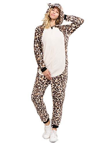 Yelete Plush Leopard Animal Adult Jumpsuit Pajama Costume, -