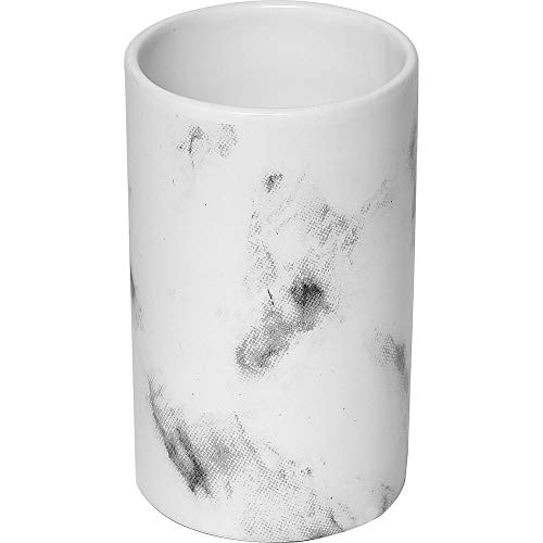 EVIDECO 6182602 Collection Marble Dolomite Bathroom Tumbler White ()