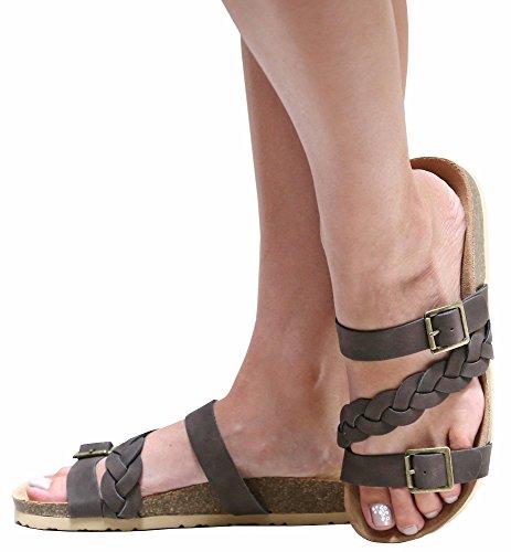 Slides Strap Flat Braided Sandals Women's Brown Cork SMK On Toe Slip Open qnFwZzT