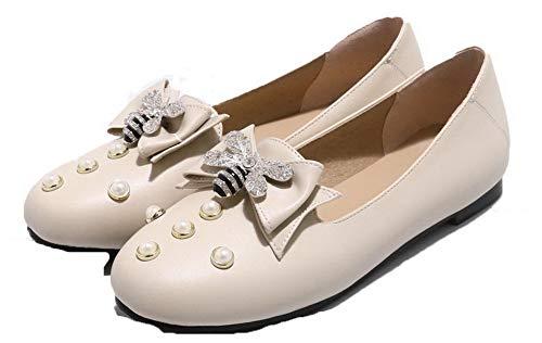 Puro Chiusa AllhqFashion Donna Punta Ballet Beige Flats Tacco Tirare Basso FBUIDD006350 Stqfxt