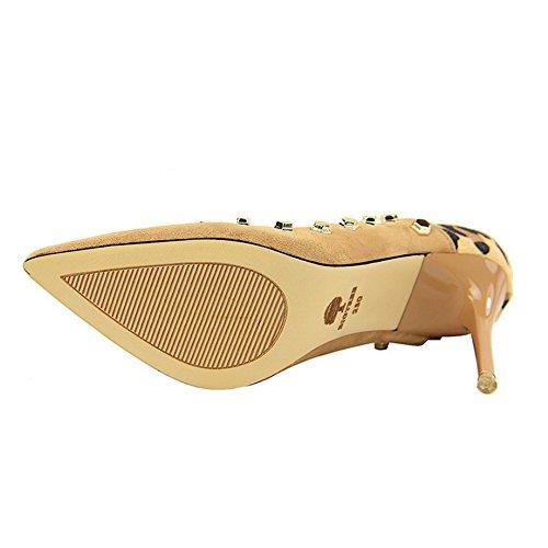 Femmes Sandales Leopard Colorblock Rivet Discothèque Haut Talon Pointu Fermer Toe Mince Pompe De Cour De Mariage Chaussures Bar Black(10.5cm) FoTl9vlO0U