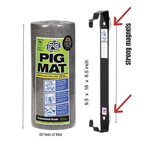 Amazon.com: Pig Mat Oil Absorbent Pads Dispenser Bundle - 50 feet x 15 feet Roll of Oil Mat (25201) | 1 Mat Roll Holder (57701): Automotive