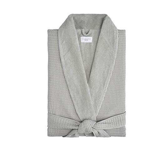 Kassatex Waffle Terry Bathrobe Collection, 100% Cotton, Made in Turkey (Beige Waffle Outside, Thick Terry Inside - L/XL - Grey ()