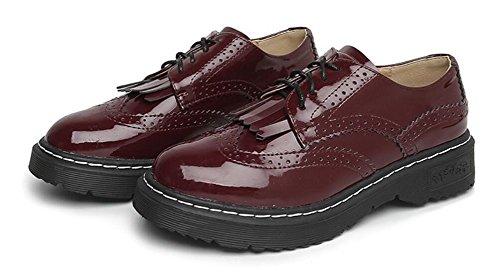 Kvinna Klänning Oxford Skor Leather Lace Upp Häl Ankel Skor Från Jiye Röda Lackläder