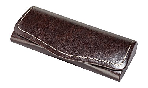 Glasses Case For Men & Women, Hard Eyeglass Case W/Magnetic Closure In Faux Leather, Espresso Brown (Glasses Frames For 60 Year Old Woman)