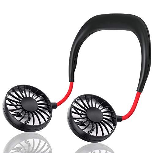 Head Neckband (Hand Free Personal Fan - Portable USB Battery Rechargeable Mini Fan - Headphone Design Wearable Neckband Fan Necklance Fan Cooler Fan with Dual Wind Head for Traveling Outdoor Office Room, 3 Setting)