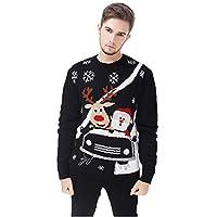 V28® Hombres, reno navideño, muñeco de nieve, pingüino, Papá Noel y suéter copo de nieve (pequeño, carrera de coches)