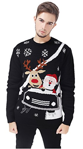 (V28® Men's Christmas Reindeer Snowman Penguin Santa and Snowflake Sweater (Large, CarRace))