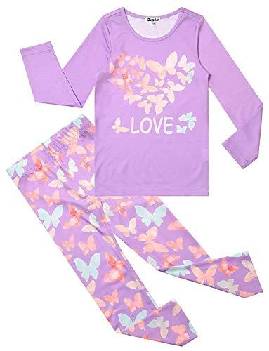 Sleepwear Butterfly - Girls Pjs Purple Pajama Sets Cotton Sleepwear Nighty Butterfly Purple