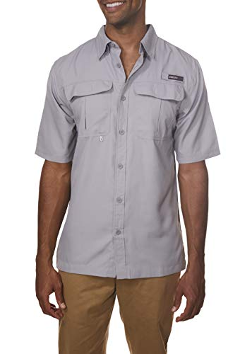 Swiss Collar - Swiss Alps Mens Short Sleeve Lightweight Breathable Outdoor Fishing Shirt Alloy-Gray Large