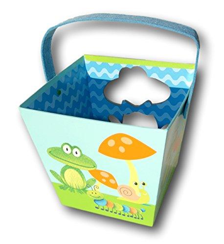 Cute Frog and Toadstool Paperboard Bucket Easter Basket