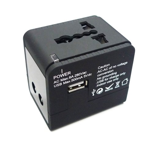 MaximalPower Universal World Travel Adapter with USB Output for US, UK, EU, AU and Over 150 - Wiggle.com.uk