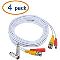 Flashmen 4-Pack 25ft HD Video Power Security Camera Cables Pre-made All-in-One Extension Wire Cord with BNC Connectors for CCTV Security Camera White