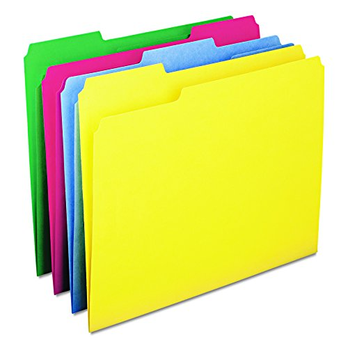 Smead WaterShed/CutLess File Folder, 1/3-Cut Tab, Letter Size, Assorted Colors, 100 per Box -