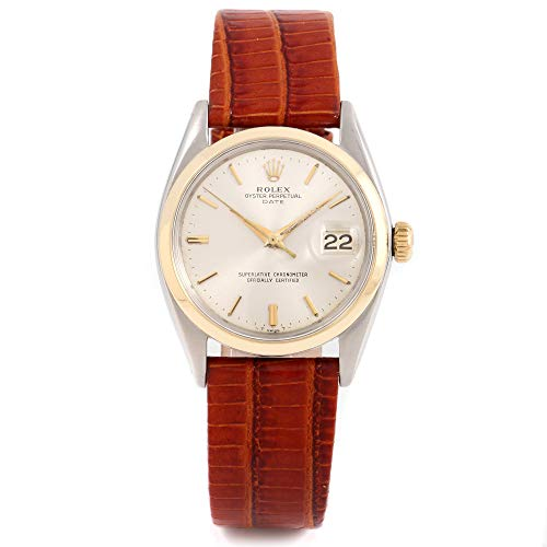 Rolex 1500 Men's 34mm Date Model - Silver Dial - Leather Band (Certified Pre-Owned) ()