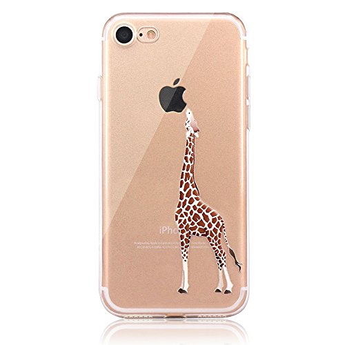 iPhone 6S Plus Case,iPhone 6 Plus Cover,Shinetop Cute Animal Pattern Clear Printed Transparent Soft TPU Bumper Case Rubber Silicone Slim Fit Protective Case for iPhone 6S Plus/6 Plus - Eating Giraffe