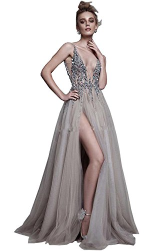 Newdeve Silver Grey Deep V-Neck High Split Formal Party Evening Dresses With Rhinestones (Sheer Net Long Gown)