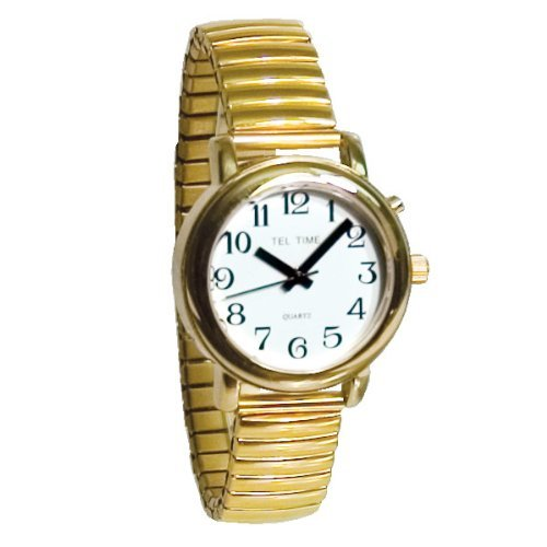 Tel-Time Talking Auto-Synchronizing Watch- Gold-Tone by Tel-Time