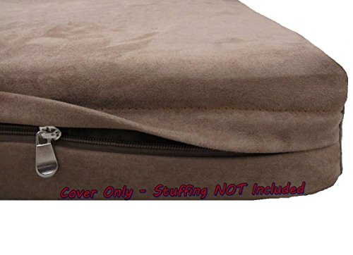 Dogbed4less DIY Pet Bed Pillow Brown Microsuede Duvet Cover and Waterproof Internal case for Dog and Cat at 37X27X4 Inch - Covers only