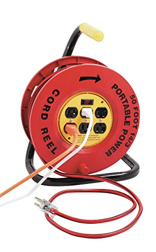 Designers Edge E-235 Power Stations 14/3-Gauge Cord Reel with 6 Outlets, 50-Foot