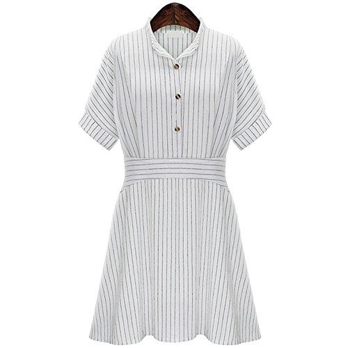Collar rayas Vestido de las mujeres usa un delgado Vestido de falda con mangas cortas