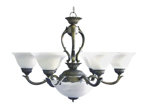 Marquis Lighting 8906-109-1-PG Chandeliers with Alabaster Shades, Pewter Gold