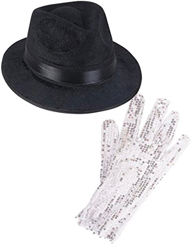 [Black Costume Fedora With Michael Jackson Glitter Glove Set Costume Accessories] (Michael Jackson Hat And Glove)