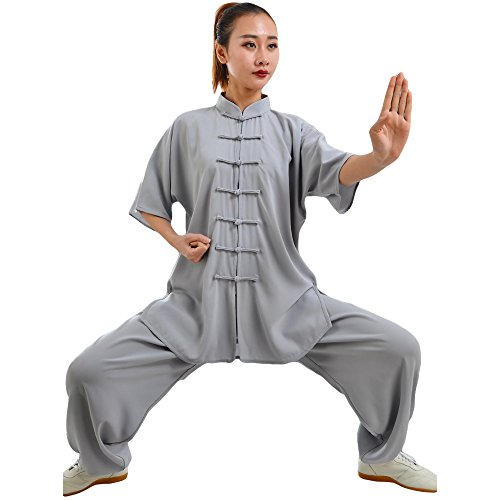 ZooBoo Unisex Cotton Blend Short Sleeves Tai Chi Suit Morning Exercise Uniform Kung Fu Clothing (XXXL, Gray)