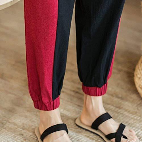 Da Lunghi Tasche Lino In Casual Comodi Coulisse Pantaloni Con Completo Di Rot Uomo Tessuto Laterali U5aqxndwZS