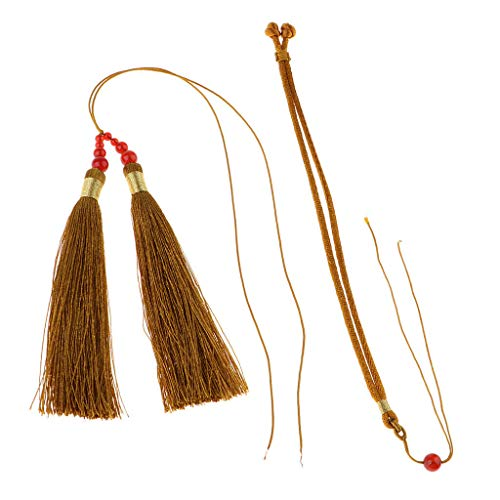 22cm Silky Mini Tassels with Beads for Jewelry Making DIY Projects Bookmark | Color - Khaki ()